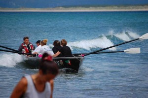 Surfing after the race - Geof in charge?