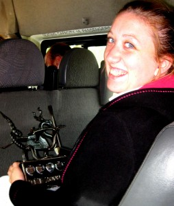 Catrin & trophy on the minibus