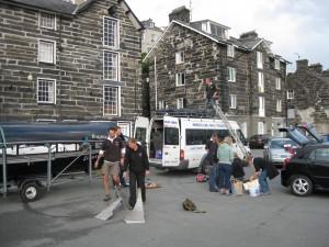 Loading the minibus