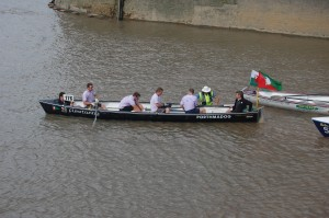 The men's crew finally on the water at Greenwich