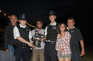 The local police come to inspect the trophy